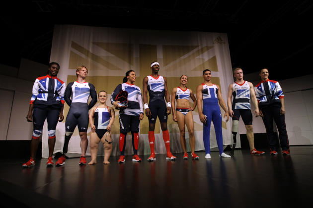 From left, British athletes, 400m runner Christine Ohuruogu, paralympic cyclist Jody Cundy, paralympic swimmer Eleanor Simmonds, BMX cyclist Shanaze Reade, triple jumper Phillips Idowu, heptathlete Je
