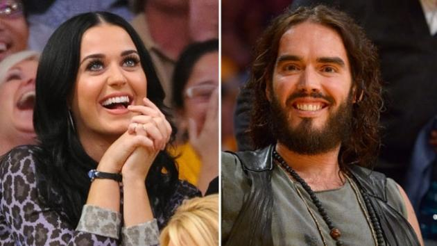 Katy Perry and Russell Brand separately attend a basketball game between the Dallas Mavericks and the Los Angeles Lakers at Staples Center in Los Angeles October 30, 2012 -- Getty Premium