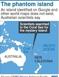 Graphic locating the area explored by Australian scientists in the Coral Sea in search of a mystery island