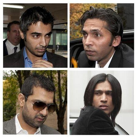 Combo photo of Pakistan cricketers Butt, Asif, Amir and agent Majeed arriving for sentencing in London