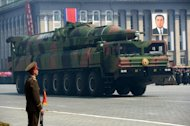 A Taepodong missile is displayed during a military parade in Pyongyang to mark the 100th birthday of the North's late founder Kim Il-Sung on April 15. North Korea raised eyebrows by displaying what appeared to be a new set of ICBMs at the parade. North Korea could carry out a long-range missile test in the next three weeks, according to satellite operator DigitalGlobe Inc
