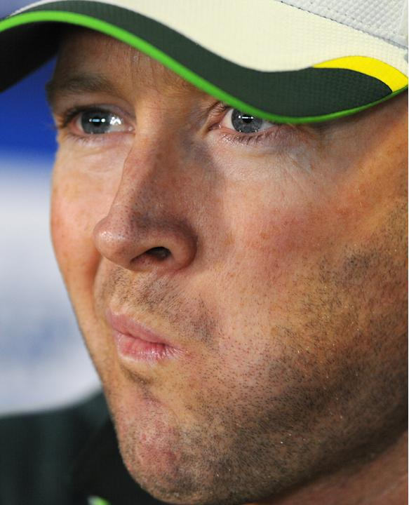Australia captain Michael Clarke gestures during a press conference ahead of the third Ashes Test cricket match against England, at Edgbaston, Birmingham, England, Tuesday, July 28, 2015. (AP Photo/Ru