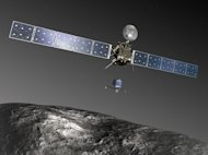 In August 2014, the ESA's Rosetta Spacecraft will rendezvous with Comet 67P/Churyumov-Gerasimenko and deploy its Philae lander, as seen in this artist's impression.