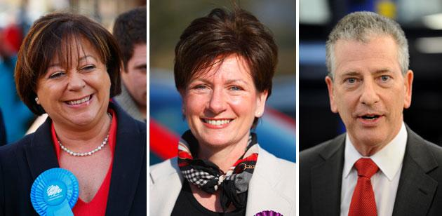 Conservative Maria Hutchings (left), UKIP's Diane James, and Lib Dem Mike Thornton are the frontrunners in the Eastleigh by-election (PA)