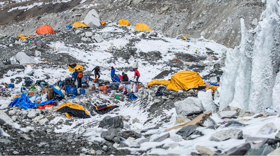 The Mount Everest south base camp is seen a day after a huge earthquake-caused avalanche