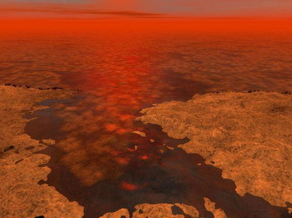 This artist's concept envisions what hydrocarbon ice forming on a liquid hydrocarbon sea of Saturn's moon Titan might look like. Image released Jan. 8, 2012.