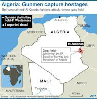 """Map locating gas field attacked by self-proclaimed Al-Qaeda gunmen. Algerian troops have surrounded Islamist gunmen who seized 41 hostages in a raid on a gas field as Britain's foreign minister Thursday condemned the """"cold-blooded murder"""" of a Briton in the attack"""