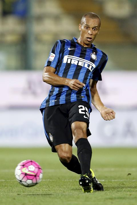 Inter Milan's Miranda controls the ball during their Serie A soccer match against Carpi in Modena