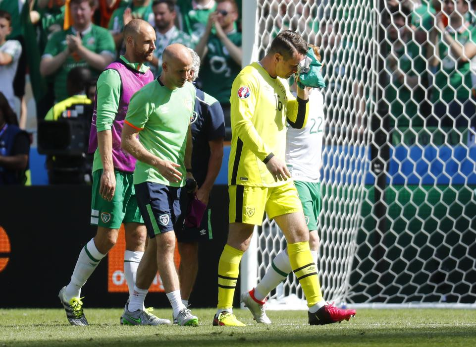 Republic of Ireland's Shay Given reacts at the end of the match