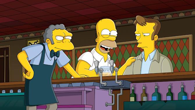 "Homer befriends Wayne (guest voice Kiefer Sutherland, R), a reserved security guard recently hired by the nuclear power plant, in the all-new ""The Falcon and the D'Ohman"" season premiere episode of ""The Simpsons."""