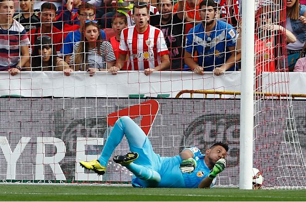 Diego Alves tries to save an Almeria shot during a Spanish league game in Almeria on May 23, 2015