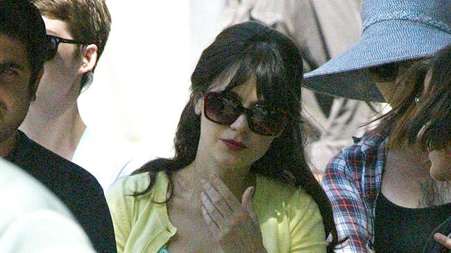 Zooey Deschanel on the set of 'New Girl'