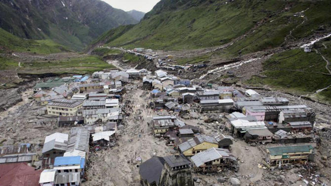 A view of the Hindu holy town of Kedarnath from a helicopter after a flood, in the northern Indian state of Uttarakhand, India, Tuesday, June 18, 2013. Monsoon torrential rains have cause havoc in northern India leading to flash floods, cloudbursts and landslides as the death toll continues to climb and more than 1,000 pilgrims bound for Himalayan shrines remain stranded. (AP Photo)