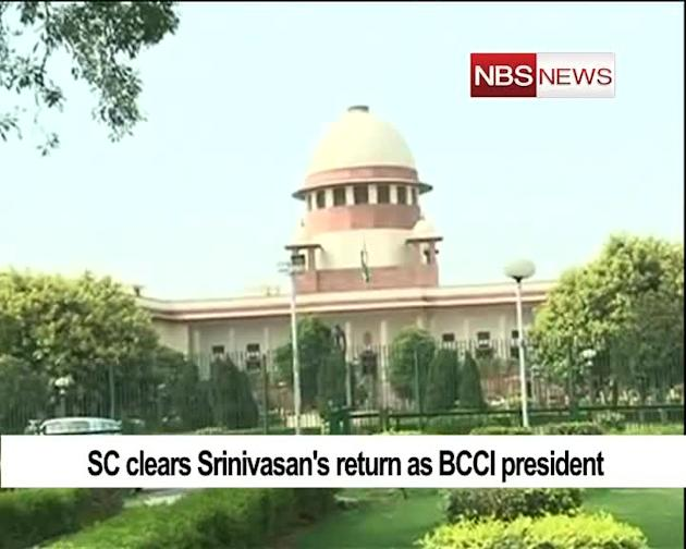 SC clears Srinivasan's return as BCCI president