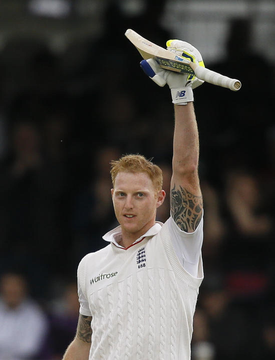 England's Ben Stokes celebrates his century, during the fourth day of the first Test match between England and New Zealand at Lord's cricket ground in London, Sunday, May 24, 2015. (AP Photo/K
