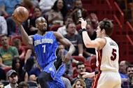 Feb 13, 2017; Miami, FL, USA; Miami Heat forward Luke Babbitt (5) defends against Orlando Magic forward Serge Ibaka (7) during the first half at American Airlines Arena. Steve Mitchell-USA TODAY Sports