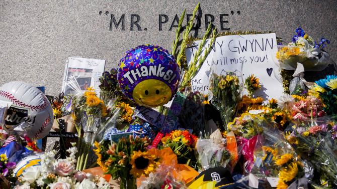 Fans leave flowers at a makeshift memorial to former San Diego Padres outfielder Tony Gwynn at Petco Park in San Diego