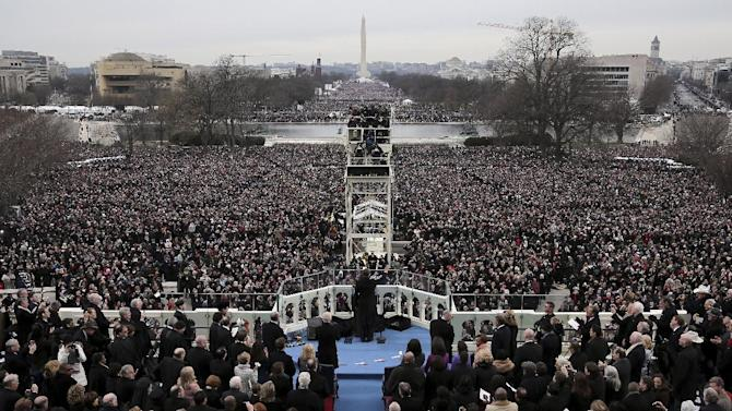 President Barack Obama gives his Inaugural address on the West Front of the Capitol in Washington, Monday, Jan. 21, 2013, during the ceremonial swearing-in ceremony during the 57th Presidential Inauguration.  (AP Photo/Rob Carr, Pool)