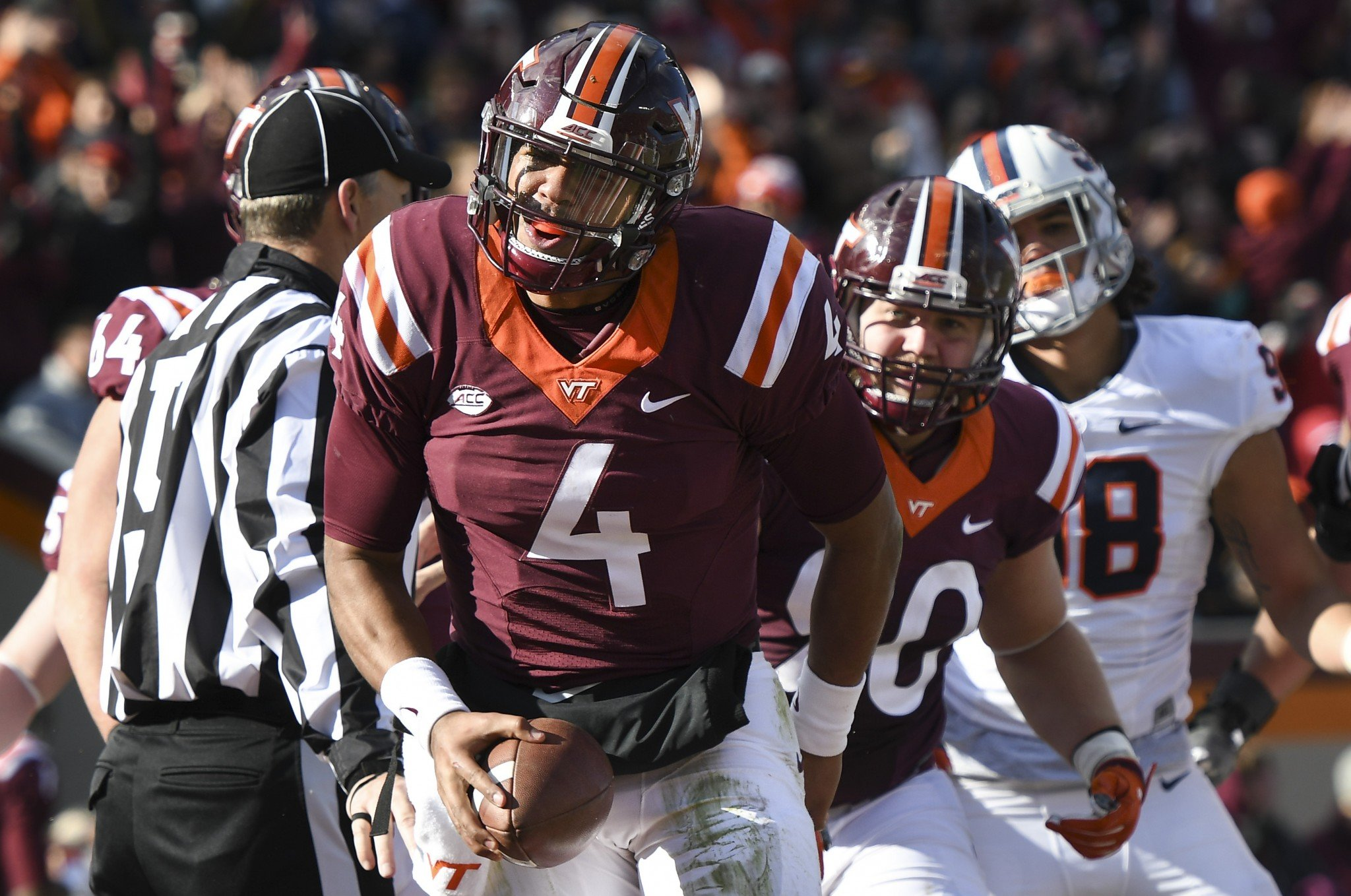 Virginia Tech quarterback Jerod Evans has 37 total TDs this year. (Getty)