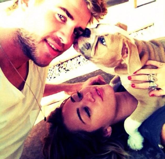 Celebrity photos: Miley Cyrus regularly tweets photos of her pets, but it's unusual to see a snap of her with new fiancé Liam Hemsworth. However, this week she posted a picture of the pair with their