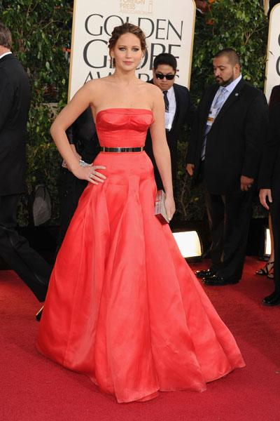 Jennifer Lawrence: This Dior Haute Couture dress reminds us of the slinky red Calvin Klein Jennifer wore to the 2011 Oscars, not so much because of the colour but because of the excitement it brought out of us. The 'Silver Linings Playbook star' and Golden Globe and Oscar nominee is a knockout in the strapless number. The gold belt pulls the look together and makes it look young and modern.