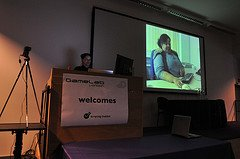 Antonia Hyde showing a video of a learning disabled user using a video player