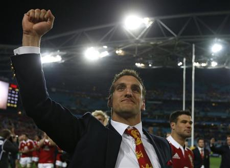 British and Irish Lions captain Sam Warburton celebrates winning their series over the Australia Wallabies after their third and final rugby union test match at ANZ stadium in Sydney