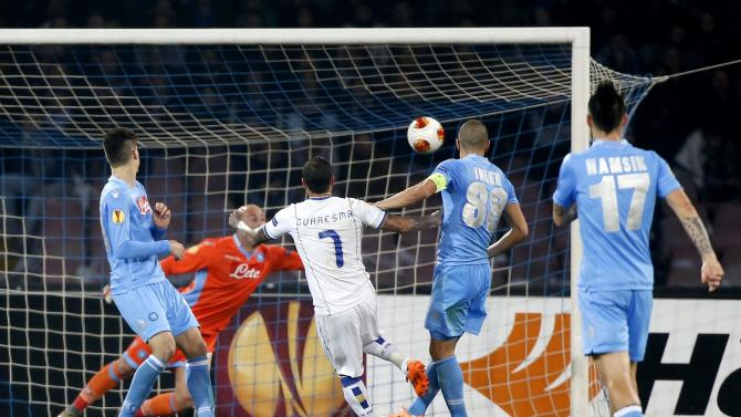 Porto's Quaresma shoots and scores against Napoli during Europa League round of 16 second leg soccer match in Naples