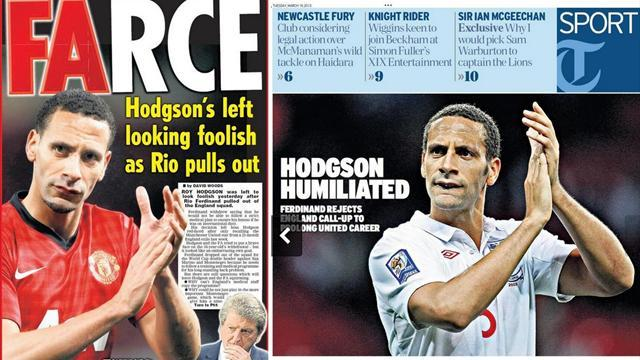 World Cup - Paper Round: Hodgson 'humiliated' by Ferdinand farce