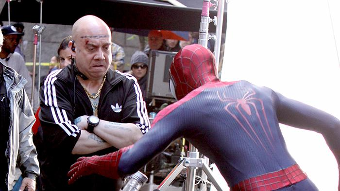 "Andrew Garfield strips clothes off Paul Giamatti at ""The Amazing Spider-Man 2"" set in NYC"