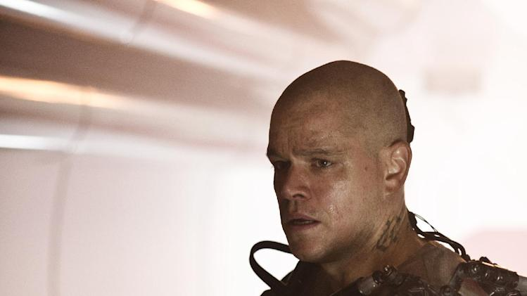 "This publicity photo released by Columbia TriStar Marketing Group, shows Matt Damon starring in Columbia Pictures' ""Elysium.""  (AP Photo/Columbia TriStar Marketing Group, Stephanie Blomkamp)"