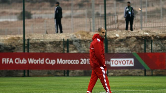 Bayern Munich's head coach Pep Guardiola attends a training session in Agadir Stadium, Agadir