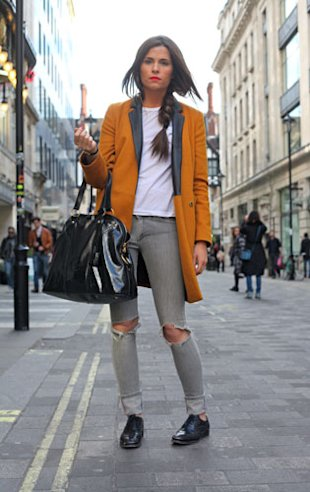Style Hunter: Ripped Superfine Jeans, Topshop Coat And Church's brogues.