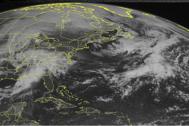 This NOAA satellite image taken Sunday, April 19, 2015 at 09:45 AM EDT shows a large line of severe thunderstorms rolling through the southeastern United States and Gulf Coast. Currently, most of Geor