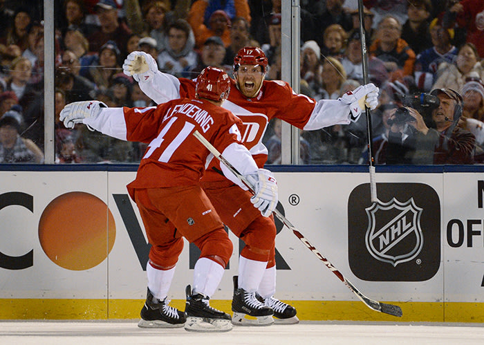 DENVER, CO - FEBRUARY 27: Detroit Red Wings center Brad Richards (17) celebrate his game winning goal with Detroit Red Wings center Luke Glendening (41) during the third period February 27, 2016 at Coors Field. The Detroit Red Wings defeated the Colorado Avalanche 5-3. (Photo By John Leyba/The Denver Post via Getty Images)