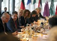 German Foreign Minister Sigmar Gabriel, second from left, opens a meeting on the conflict in Syria during a meeting of the G-20 Foreign Ministers in Bonn, western Germany, Friday, Feb. 17, 2017. (Oliver Berg/pool photo via AP)