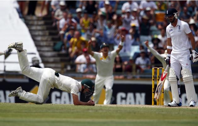 Australia's Bailey takes the final catch to dismiss England's Anderson and win their Ashes test cricket series at the WACA ground in Perth