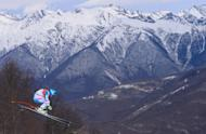Austria's Matthias Mayer competes during the Men's Alpine Skiing Downhill at the Rosa Khutor Alpine Center during the Sochi Winter Olympics on February 9, 2014