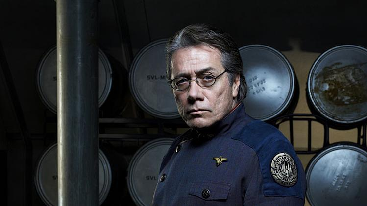 Edward James Olmos as Commander William Adama in Battlestar Galactica on the Sci Fi Channel.