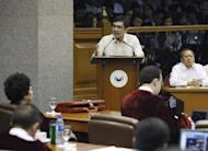 Philippine Congressman and lead prosecutor Niel Tupas gestures while delivering his closing argument in the impeachment trial of Supreme Court Chief Justice Renato Corona in Manila. Philippine senators are set to vote Tuesday on whether to sack the nation's top judge after a historic trial over alleged corruption which saw him accused of hiding millions of dollars in assets