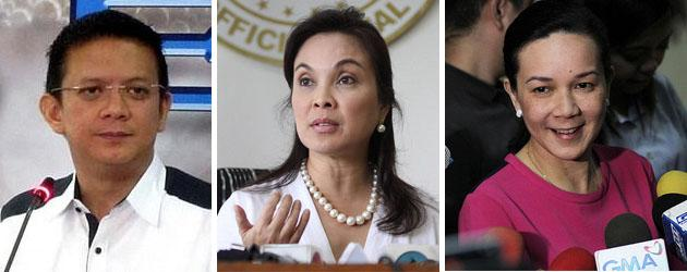 'Common candidates' Chiz Escudero, Loren Legarda, Grace Poe Llamanzares (Photos by NPPA Images)