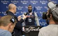 Oklahoma City Thunder player James Harden talks to reporters before practice at the American Airlines Arena in Miami, Florida. The Heat and the Oklahoma City Thunder are preparing for Game 5 of their NBA Finals scheduled for June 21