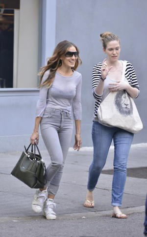 Sarah Jessica Parker with her Pebbled Borough bag from Coach