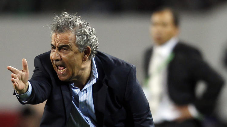 Morocco's Raja Casablanca coach Benzarti reacts during their FIFA Club World Cup soccer match against Mexico's Monterrey at Stade in Agadir