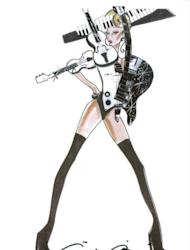 "This handout released by Shinsegae International, Armani's South Korean business partner in Seoul shows a sketch of a costume designed by Italian designer Giorgio Armani for US pop diva Lady Gaga's ""Born This Way Ball"" global tour. Accused of contaminating youngsters with ""satanic"" dance moves and ""intolerable"" outfits, the cult of Lady Gaga is on a collision course with Asia's moral guardians"