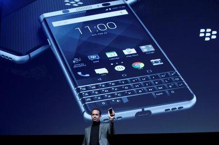 TCL Communcation's CEO Nicolas Zibell presents the new BlackBerry Key One before the Mobile World Congress in Barcelona