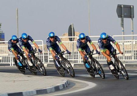 Cyclists from Orica-Bike Exchange compete in Men's Team Time Trial in the UCI Road World Championships 2016, in Doha