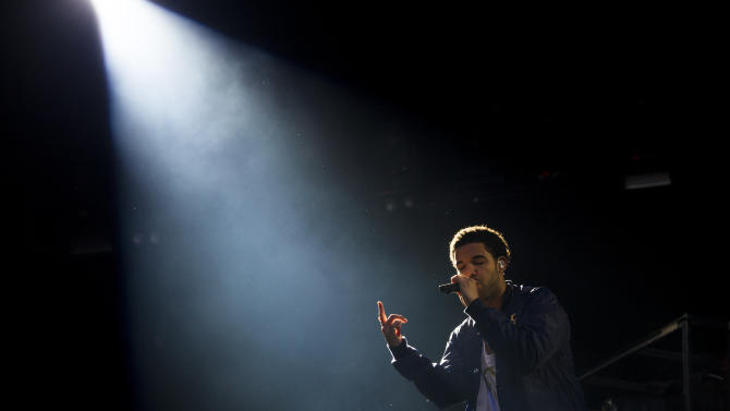 "Drake performs at the ""Made In America"" music festival on Sunday, Sept. 2, 2012, in Philadelphia. (Photo by Charles Sykes/Invision/AP)"