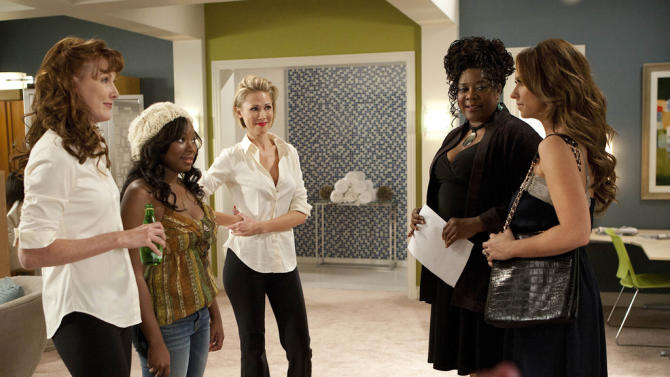 "Kathleen York as Jolene, Naturi Naughton as Kendra, Desi Lydic as Dee Ann, Loretta Devine as Georgia, and Jennifer Love Hewitt as Riley in ""The Client List."""
