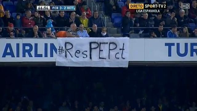 Liga - Barcelona removed Pep banner 'for commercial reasons'